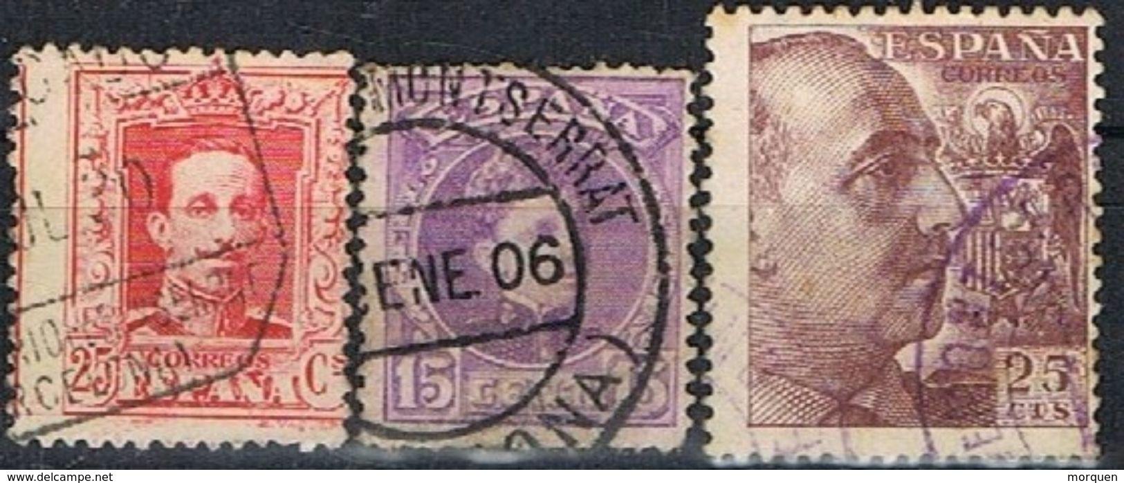 Lote 3 Sellos Fechador MONASTERIO De MONTSERRAT (Barcelona), Alfonso XIII Y Estado Español º - 1889-1931 Reino: Alfonso XIII
