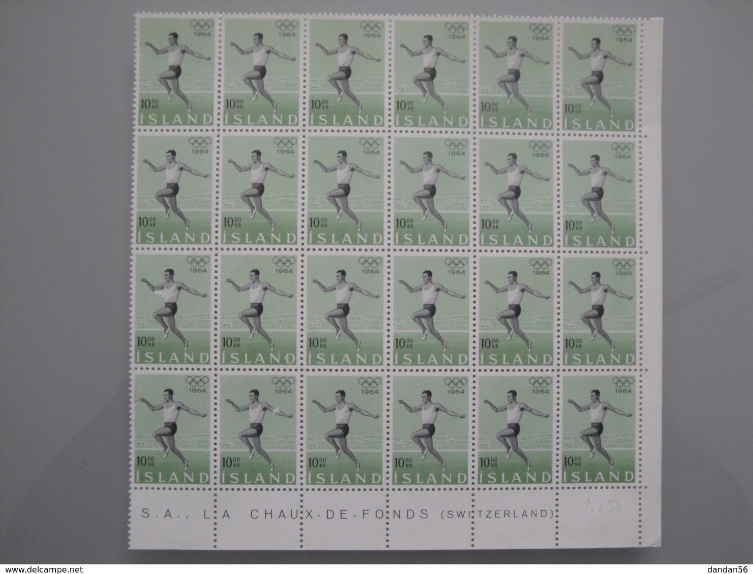 1964 Islande  Yv  342 X 24 **  Sport JO Olympic Games   Scott 369  Michel 387  Facit 424 - Islande