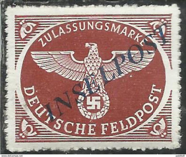 EGEO 1944 OCCUPAZIONE TEDESCA SOPRASTAMPA NERO AZZURRASTRA INSELPOST DI AGRAM DENT 13 1/2 PERF. MNH SIGLATO SIGLED - Egeo