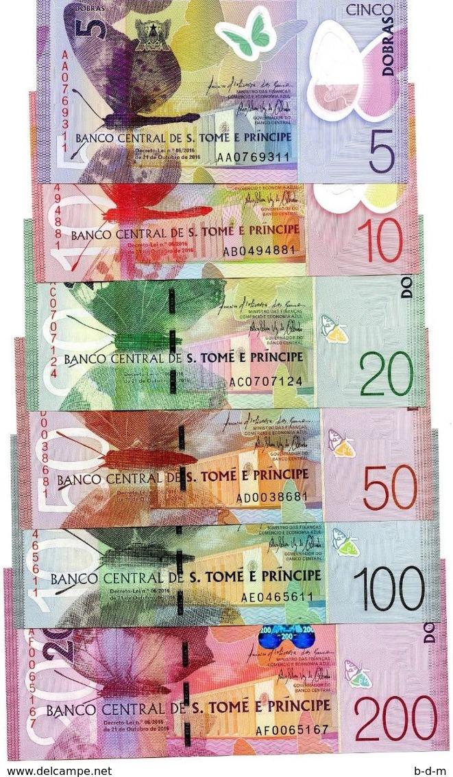 Sao Tome E Principe Full Set 5 10 20 50 100 200 Dobras 2018 Pick New Polymer SC UNC - Sao Tome And Principe