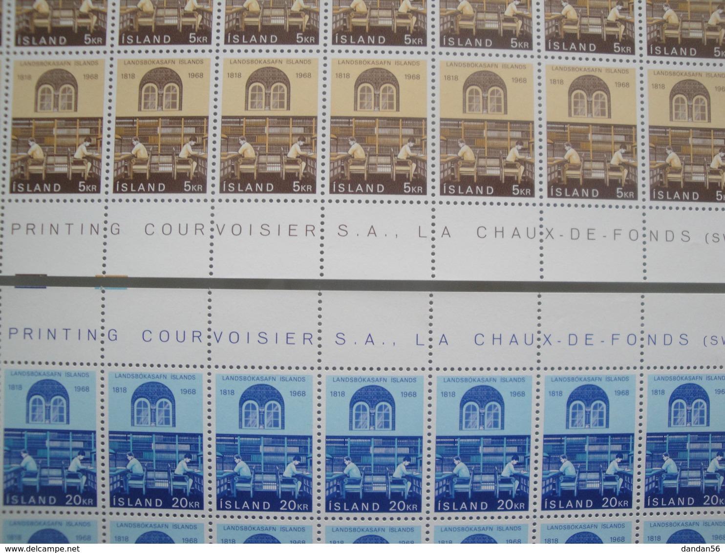 1968 Islande  Yv  377/8 X 50 **  Bibliothèque Nationale  Scott 400/1  Michel 422/3 SG Xx  Facit 459/60 - Collections, Lots & Séries