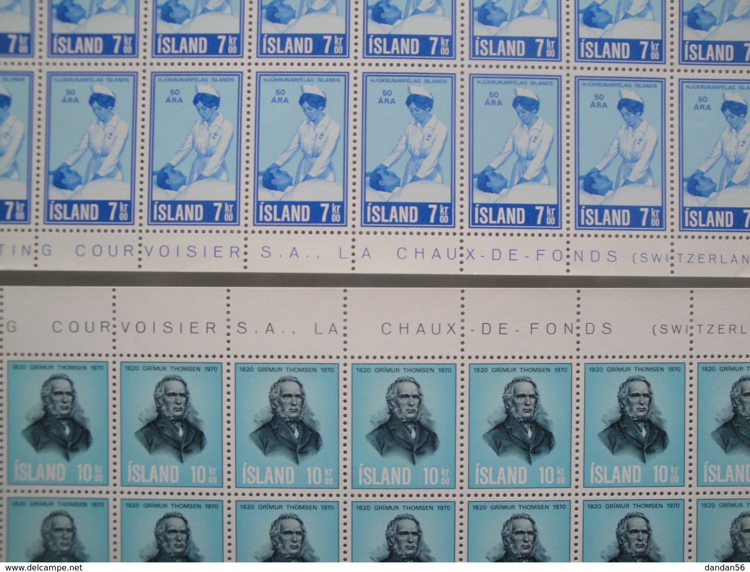 1970 Islande  Yv  397/8 X 50 ** Infirmière + G. Thomsen  Scott 422/3  Michel 444/5 SG 475/6 Facit 481/2 - Collections, Lots & Séries