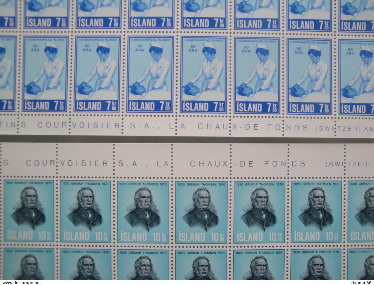 1970 Islande  Yv  397/8 X 50 ** Infirmière + G. Thomsen  Scott 422/3  Michel 444/5 SG 475/6 Facit 481/2 - Islande