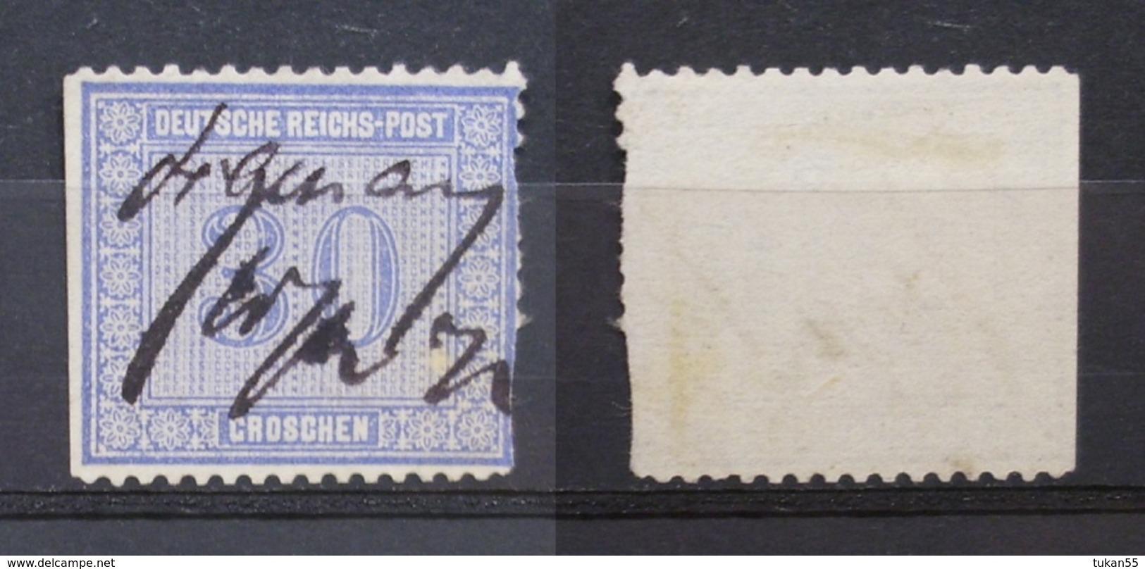 Dt.Reich 30 Gr.1872 Mi.Nr.13 Links Geschnitten !Mängel ! Federzug ! KW,-950   (K90) - Deutschland