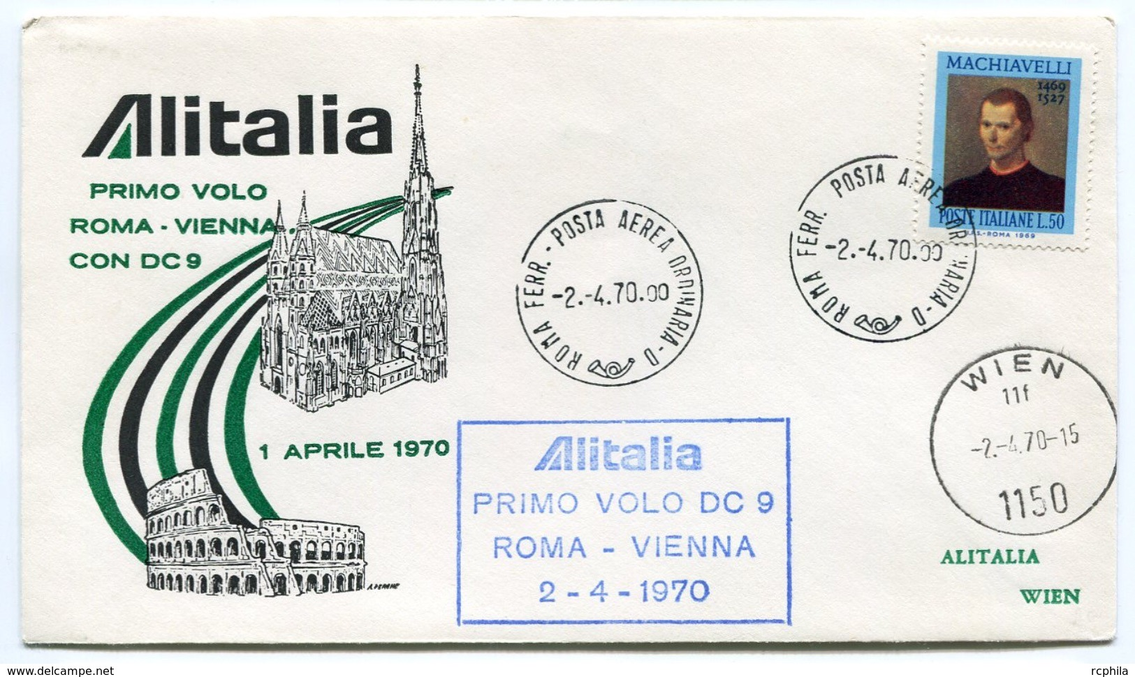 RC 6665 ITALIE 1970 1er VOL ROMA - VIENNA AUTRICHE FFC LETTRE COVER - Posta Aerea