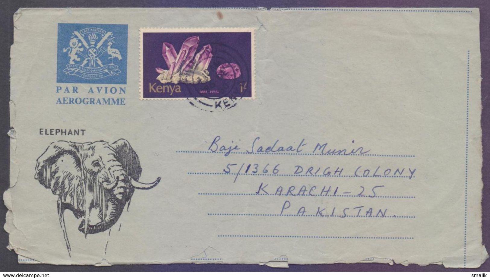 KENYA Postal History Aerogramme Elephant, Used 1980 - Kenia (1963-...)