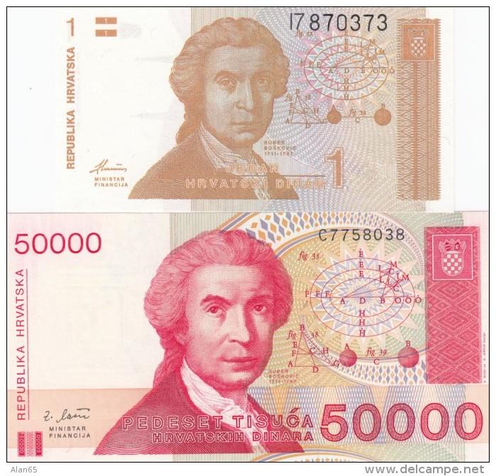 Croatia #16 1 Dinar 1991 & #26 50,000 Dinara 1993 UNC Banknotes - Croatia