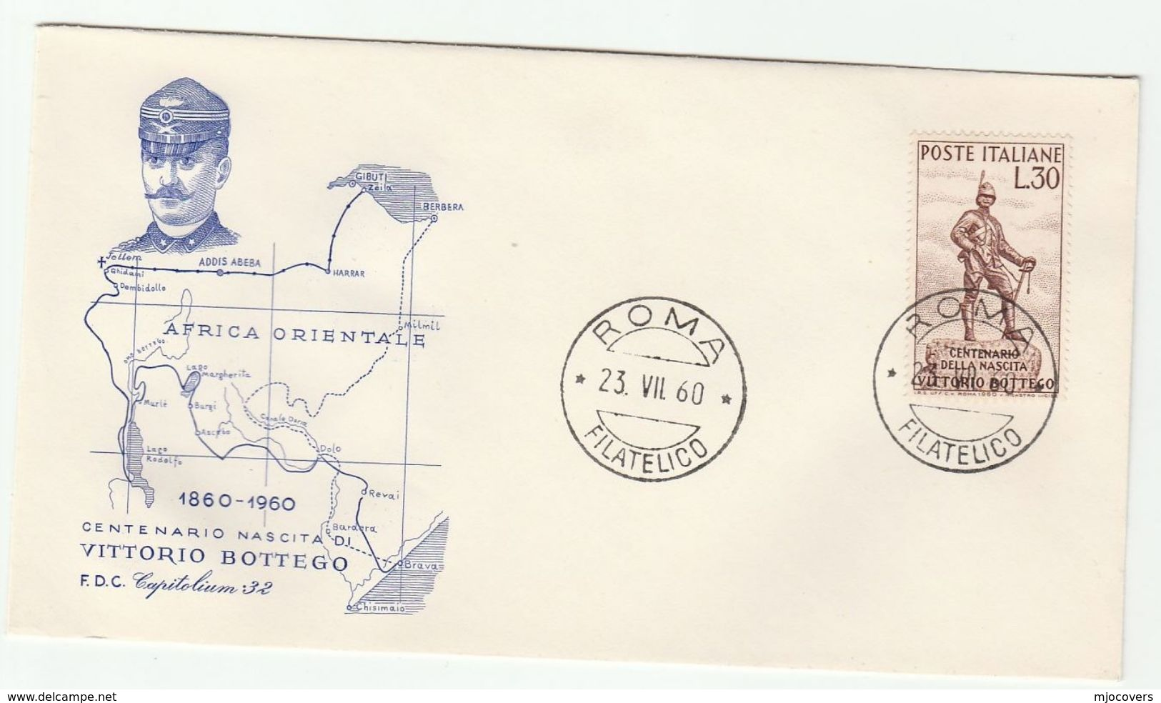 1960 ITALY FDC VITTORIO BOTTEGO Explorer Stamps Cover Map Of Africa - 6. 1946-.. República