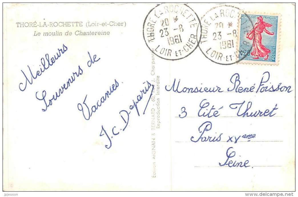 LOIR ET CHER  41    THORE LA ROCHETTE  LE MOULIN DE CHANTEREINE  CACHET - Andere Gemeenten