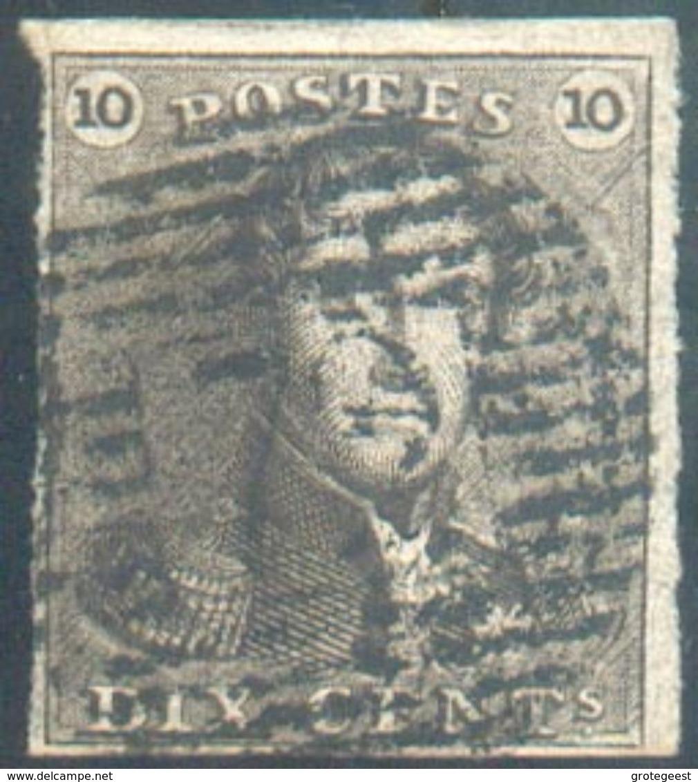 N°1 - EPaulette 10centimes Brune, TB Margée, Obl. P.72 LEUZE Centrale - 12448 - 1849 Epaulettes