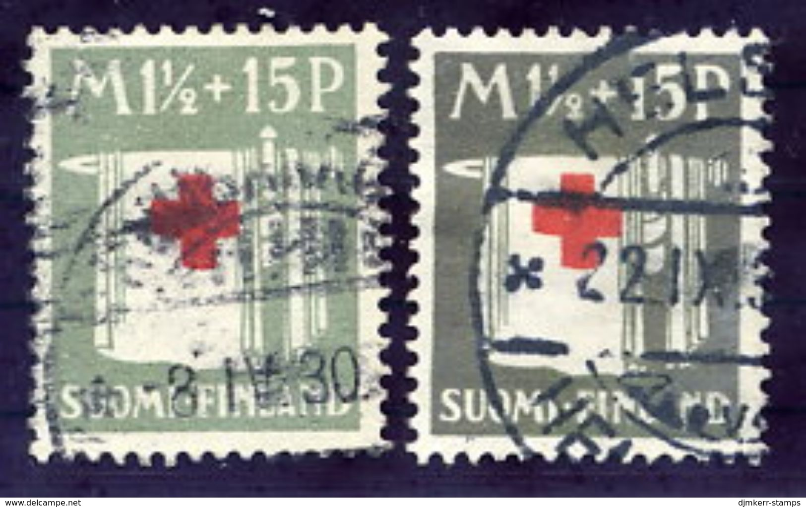 FINLAND 1930 Red Cross 1½ M.in Light And Dark Grey Shades, Used.  Michel 159 - Oblitérés