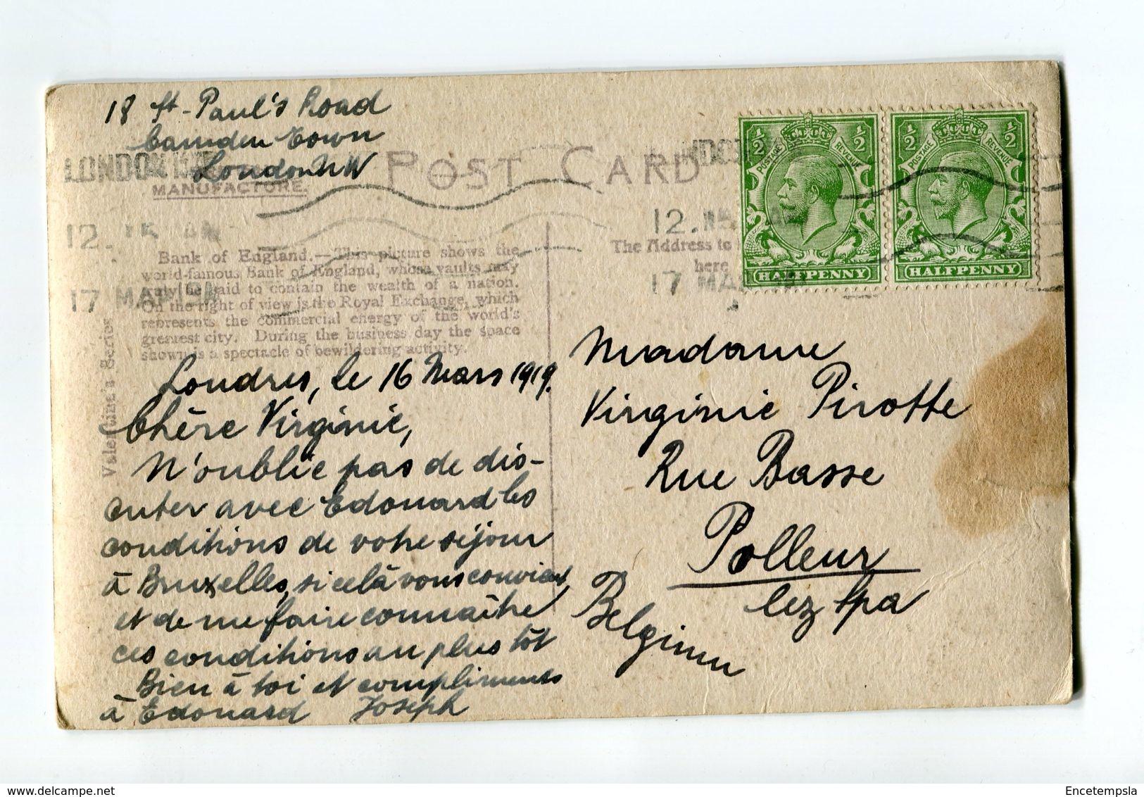 CPA - Carte Postale - Angleterre - Banque De Londres - 1919 (CP82) - London