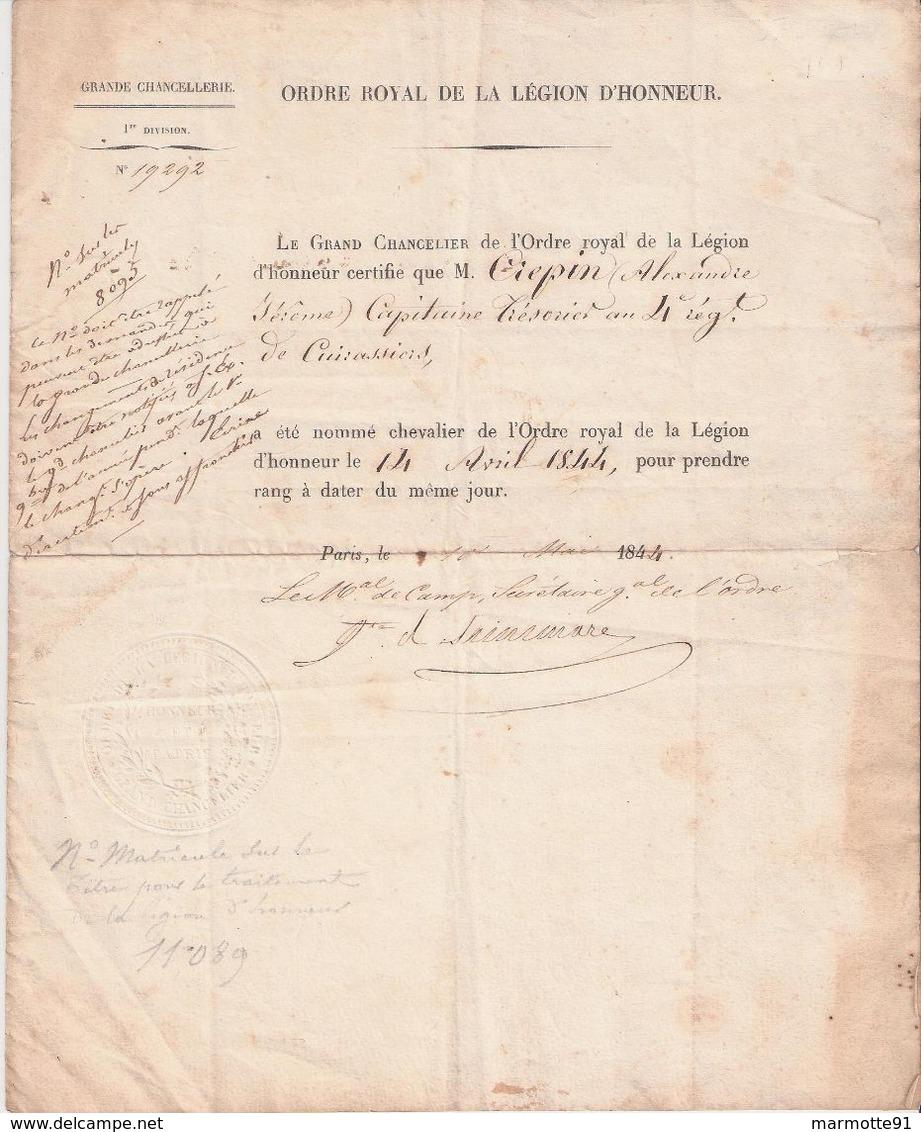 LETTRE NOMIATION CHEVALIER LEGION HONNEUR 1844 POUR CAPITAINE 4 REGIMENT CUIRASSIERS - Médailles & Décorations