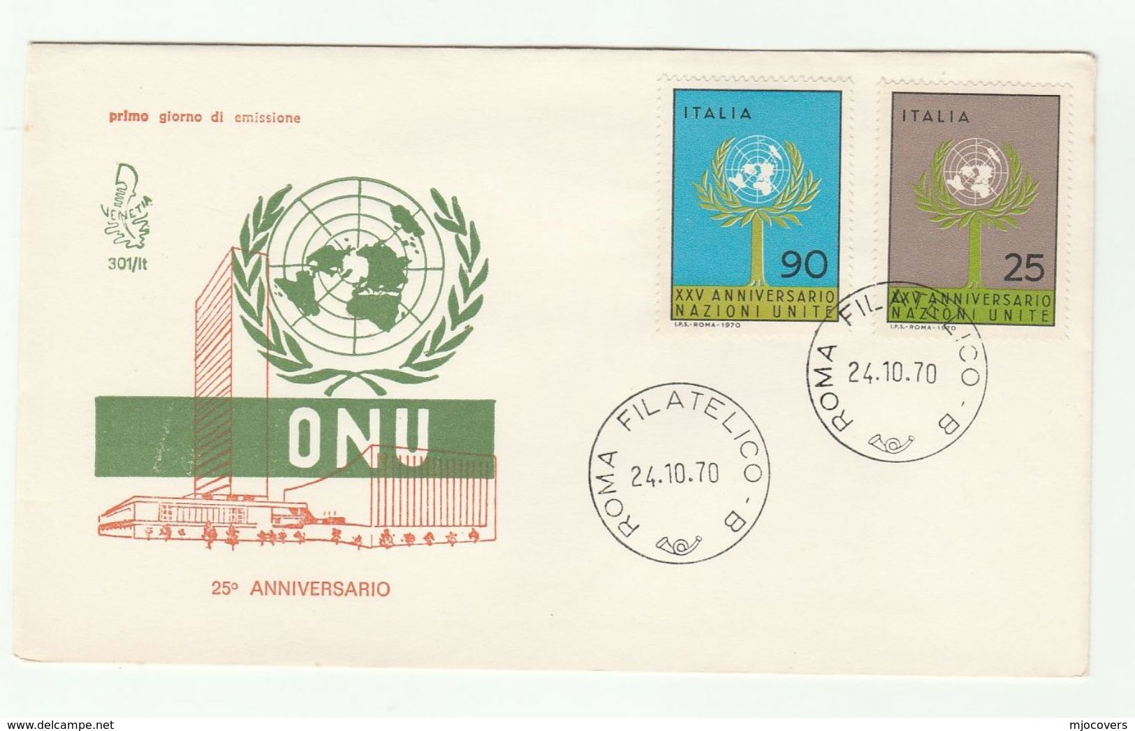 1970 ITALY FDC United Nations UN  Cover Stamps - UNO