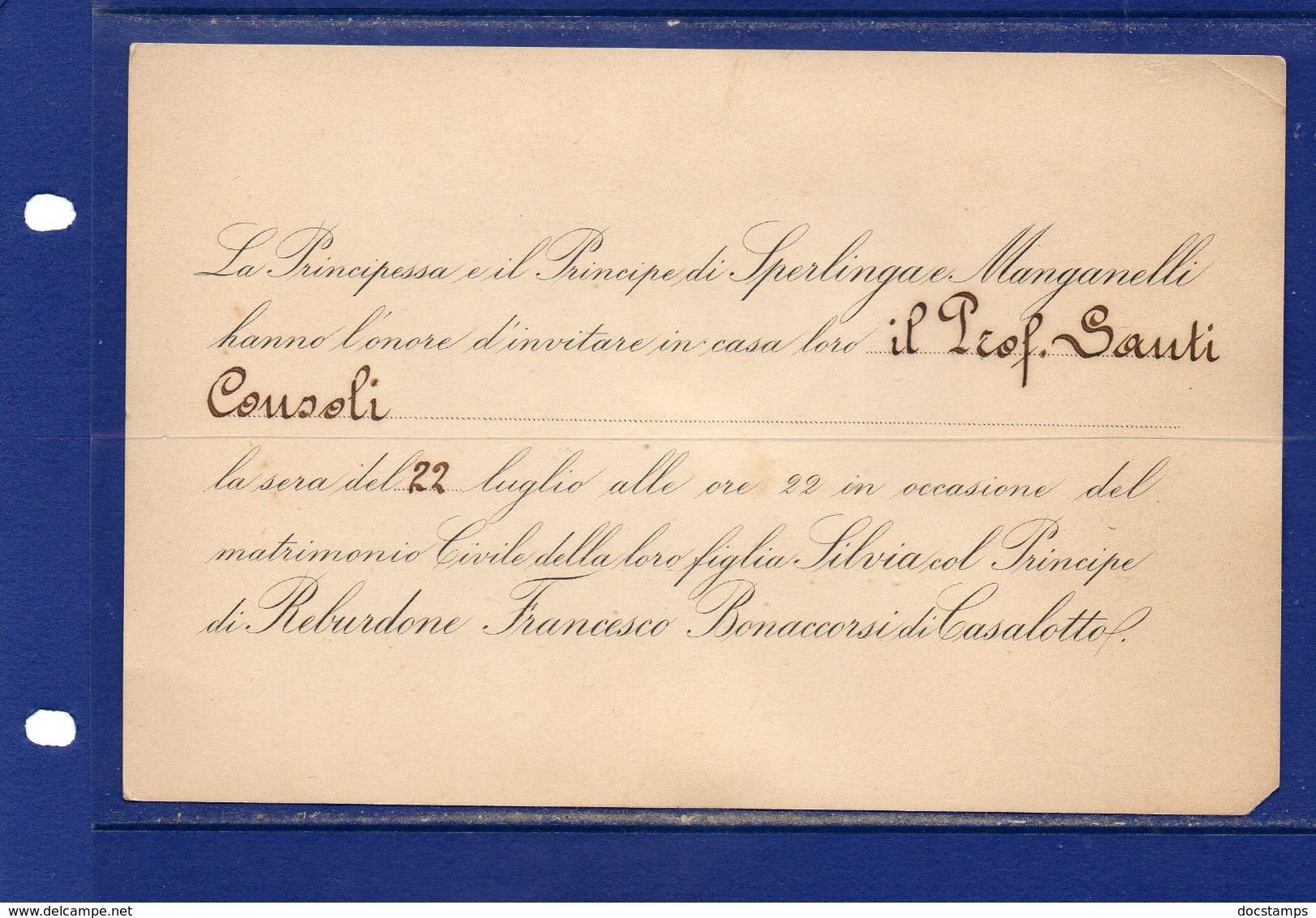 ##(YEL1)-9-7-1907-Catania -partecipazione Per Il Matrimonio Di Silvia, Figlia Dei Principi Di Sperlinga E Manganelli - Boda