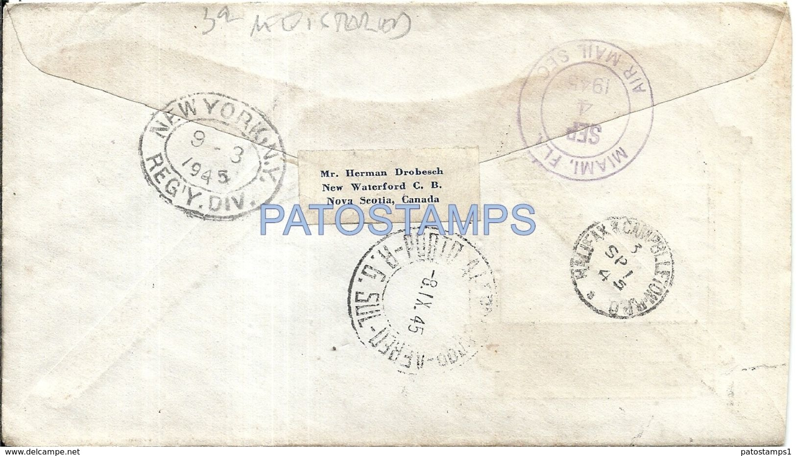 85593 CANADA SCOTCHLAND COVER YEAR 1945 REGISTERED CIRCULATED TO BRAZIL NO POSTAL POSTCARD - Canadá