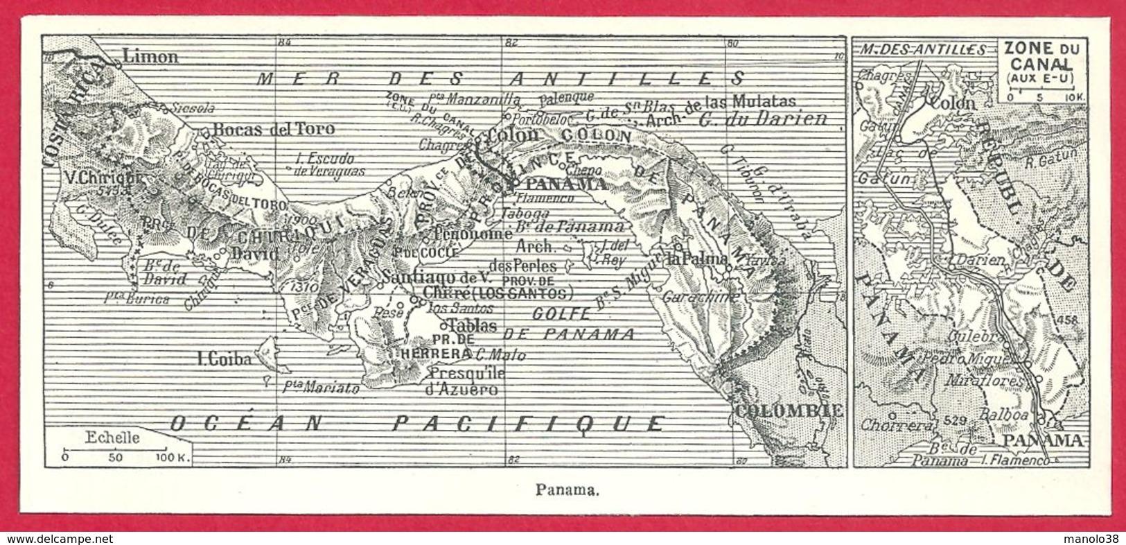 Carte Du Panama Larousse 1948 - Vieux Papiers