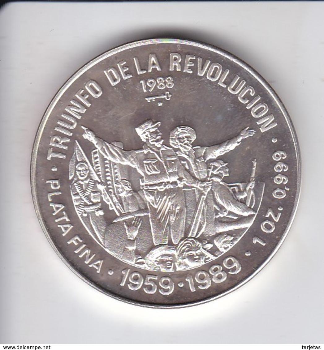 MONEDA DE PLATA DE CUBA DE 10 PESOS AÑO 1988 TRIUNFO DE LA REVOLUCION - Cuba