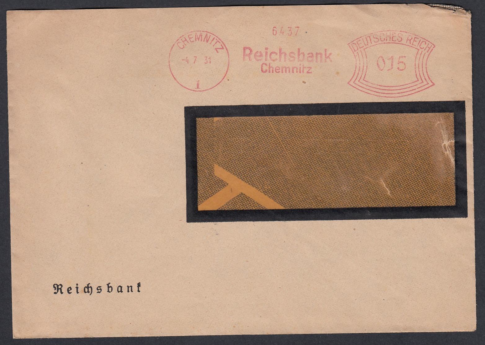 DR Brief Absenderfreistempel Bankbrief Reichsbank Chemnitz K1200 - Briefe U. Dokumente