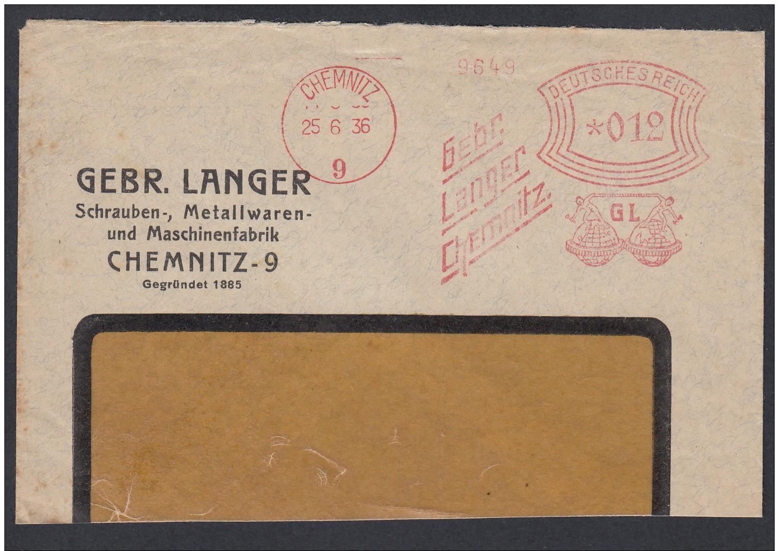 DR Brief Absenderfreistempel AFS  Schrauben Metallwaren Maschinen 1936 Chemnitz Briefstück K1206 - Briefe U. Dokumente