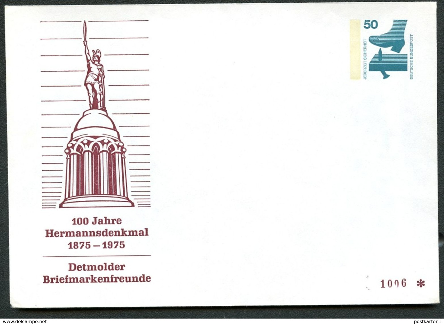 Bund PU65 C2/001 Privat-Umschlag HERMANNSDENKMAL DETMOLD 1975  NGK 4,00 € - Monuments