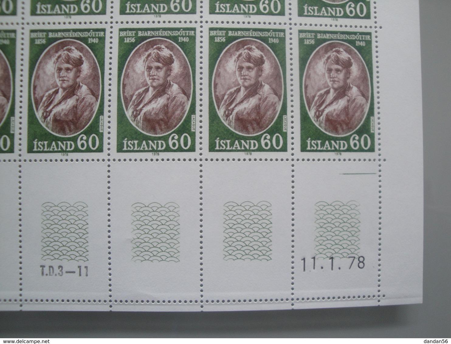 1978 Islande  Yv  481/2 X 15 **  Personnalités Islandaises Scott 504/5  Michel 528/9 SG Xx Facit 565/6 - Collections, Lots & Séries