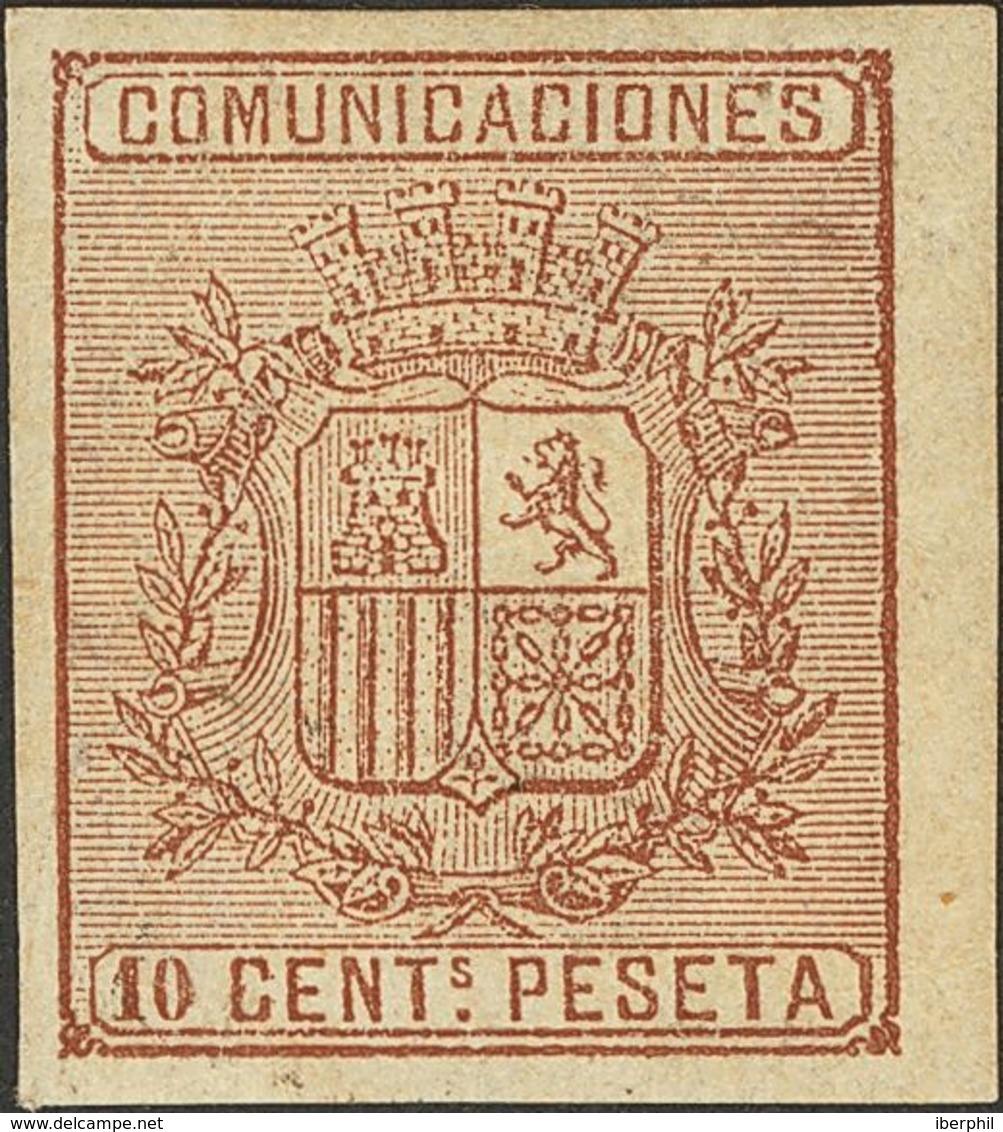 * 153s. 10 Cts Castaño, Borde De Hoja. SIN DENTAR. MAGNIFICO. (Edifil 2018: 117€) - Spain