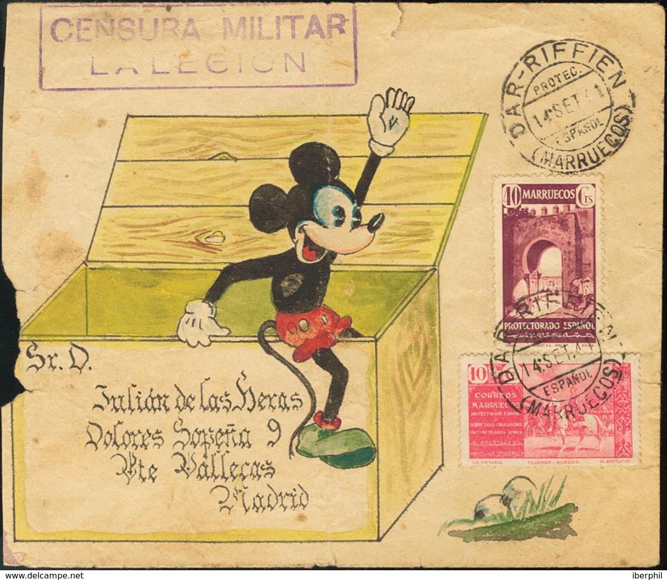 """Sobre 1941. 40 Cts Castaño Lila Y 10 Cts Rosa De Beneficencia. Sobre (decorado A Mano) Con Dibujo De """"Mickey Mouse"""" De D - Spagna"""