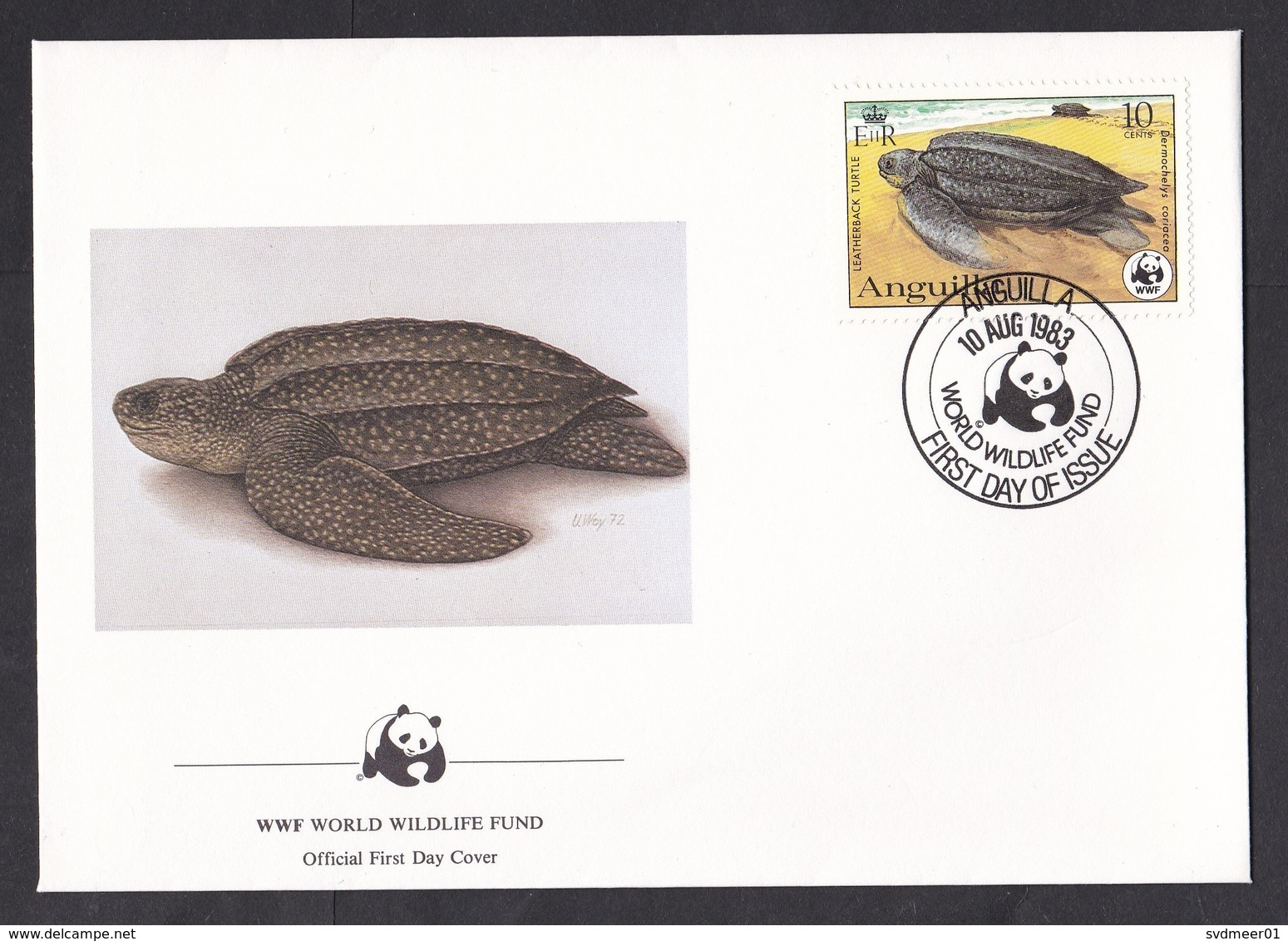 Anguilla: FDC First Day Cover, 1983, 1 Stamp, Leatherback Turtle, WWF Panda Logo (traces Of Use) - Anguilla (1968-...)