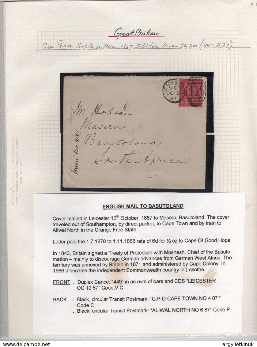 GREAT BRITAIN LEICESTER JUBILEE 6d BASUTULAND 1887 - South Africa