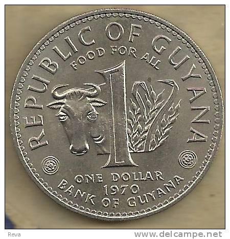 GUYANA $1 FAO ANIMAL FRONT CUFFY SLAVE HEAD BACK 1970 VF KM36  READ DESCRIPTION CAREFULLY!!! - Guyana