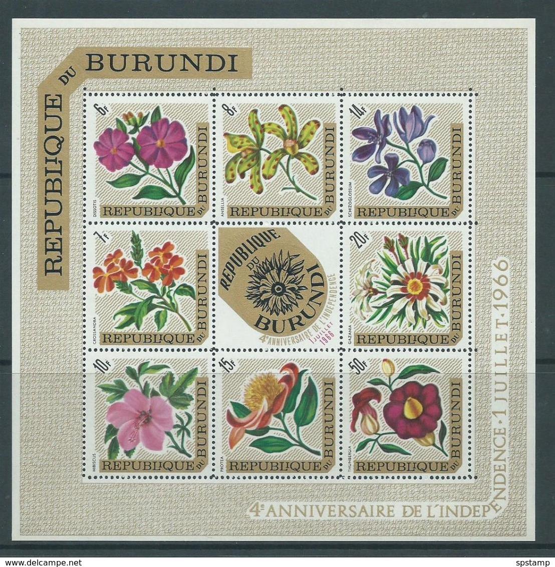 Burundi 1966 Republic Overprints On Flower Airs Sheet Of 8 , Floral Centre Type MNH - Burundi