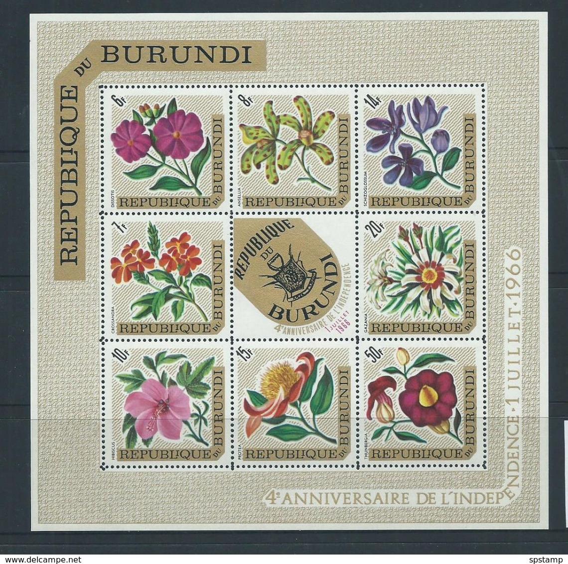 Burundi 1966 Republic Overprints On Flower Airs Sheet Of 8 , Coat Of Arms Centre Type MNH - Burundi
