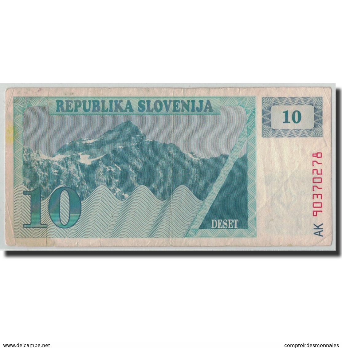 Billet, Slovénie, 10 (Tolarjev), 1990, KM:4a, TB - Slovénie