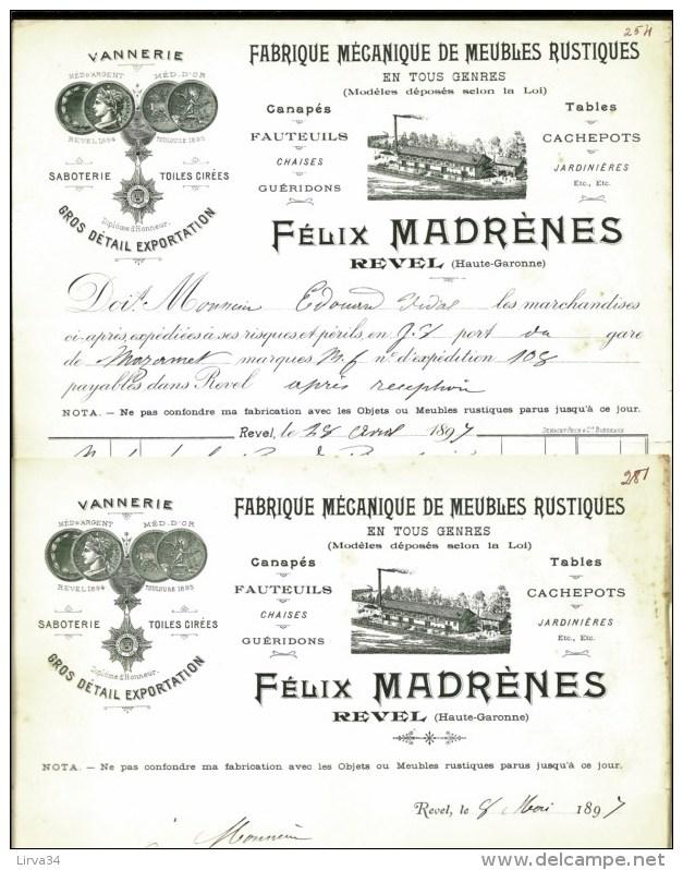 2 FACTURES+ LETTRE ANCIENNES DE REVEL- 1897- FABRIQUE DE MEUBLES- BELLE ILLUSTRATION- USINE- MEDAILLES- 3 SCANS- - France