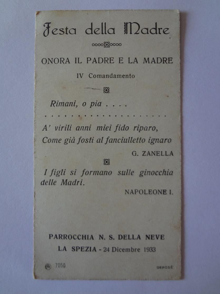 D877-Santino AR 7050 Deposè Festa Della Madre Parrocchia N.S.della Neve (La Spezia) 1933 - Images Religieuses