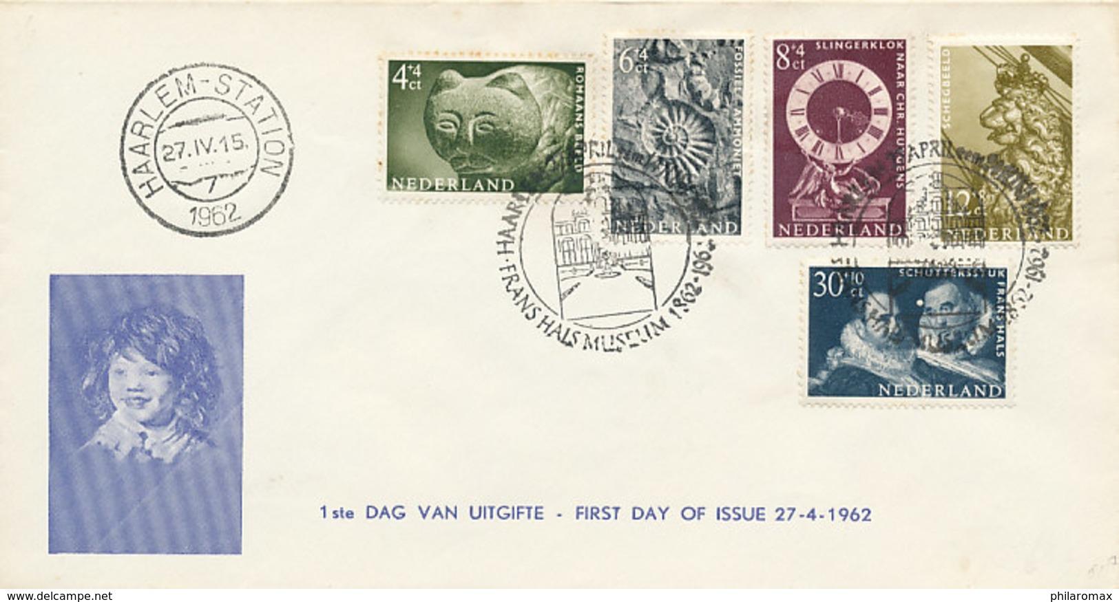 DC-0802 - 1962 NETHERLANDS - FDC ZOMERZEGELS FRANS HALS MUSEUM HAARLEM - STEMPEL FRANS HALS MUSEUM - FDC
