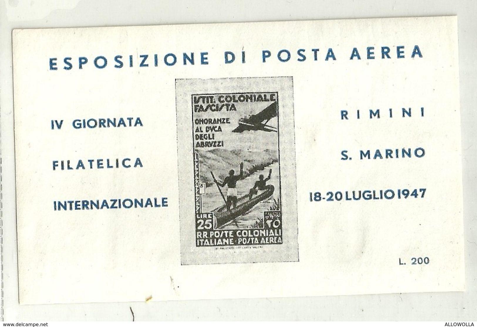 """426 - """"FOGLIETTO ERINNOFILO-ESPOSIZIONE DI POSTA AEREA-RIMINI-S.MARINO 18-20 LUGLIO1947 """"  NUOVO-GOMMATO - Erinnofilia"""