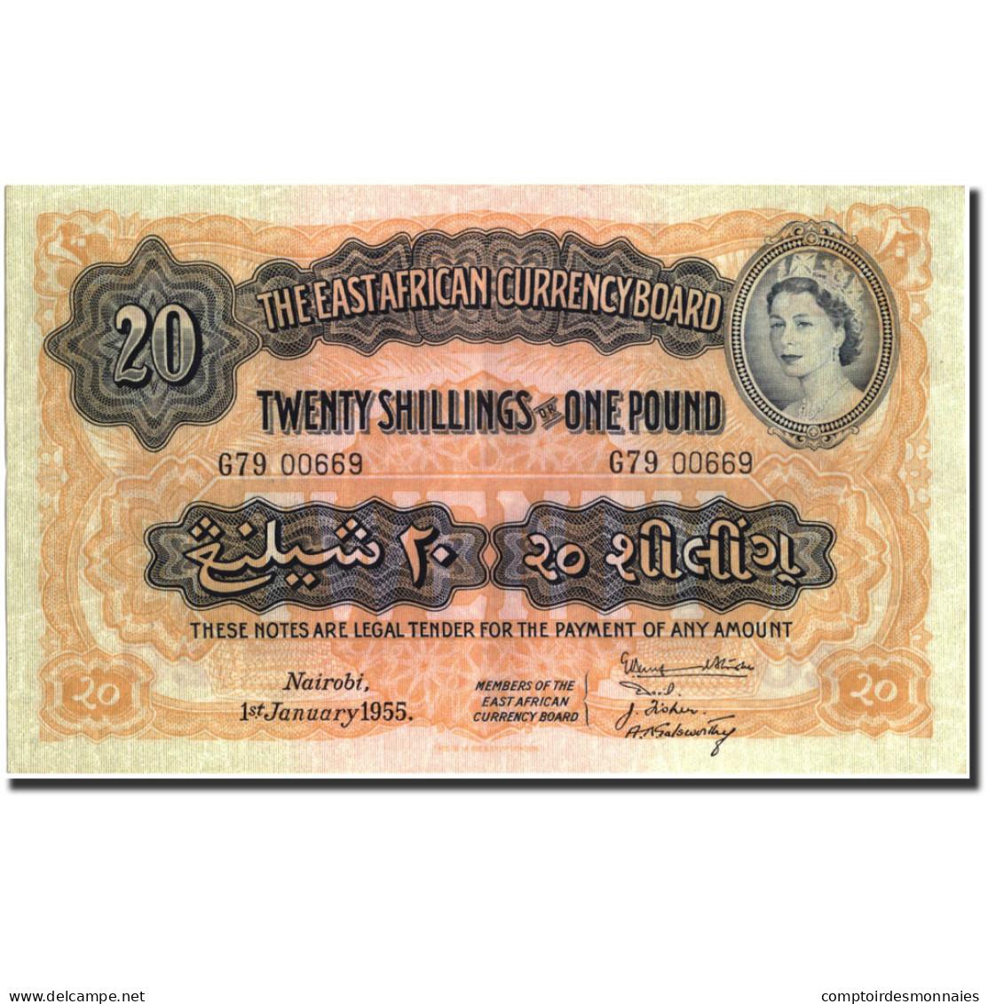 Billet, EAST AFRICA, 20 Shillings = 1 Pound, 1955, 1955-01-01, KM:35, SUP - Kenya