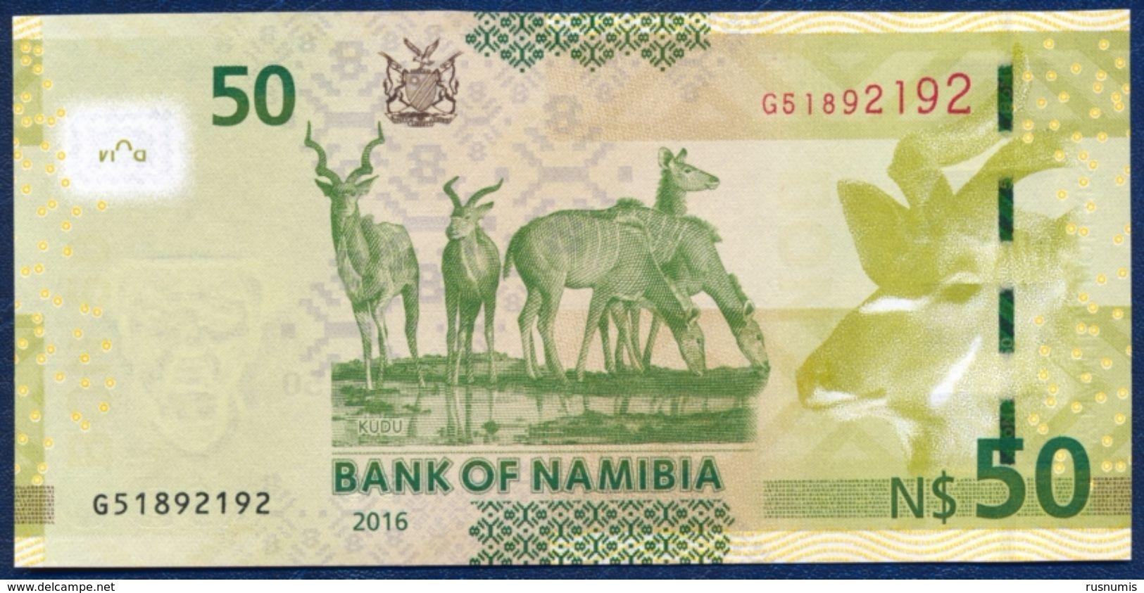 NAMIBIA 50 DOLLARS P-13b  FAUNA ANIMALS ANTELOPE KUDUS 2016 UNC - Namibia
