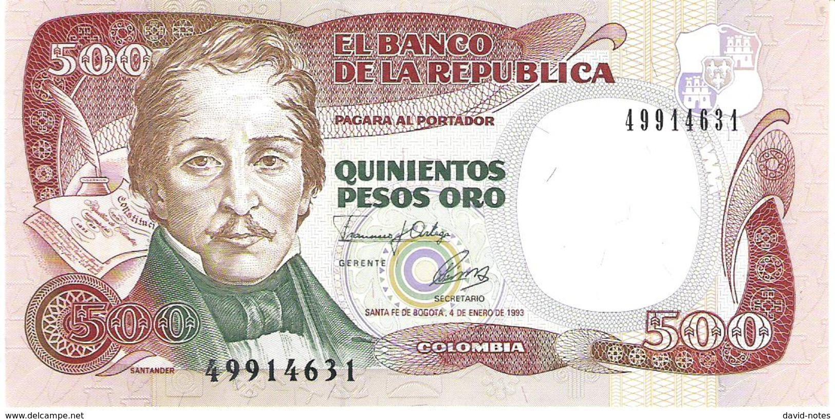 Colombia - Pick 431A - 500 Pesos Oro 1993 - Unc - Colombie