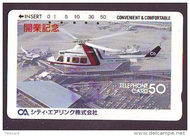 Télécarte Japon Hélicoptère (604) HELICOPTER - CHOPPER - Hubschrauber - HELICÓPTERO - Elicottero - Avion - Avions