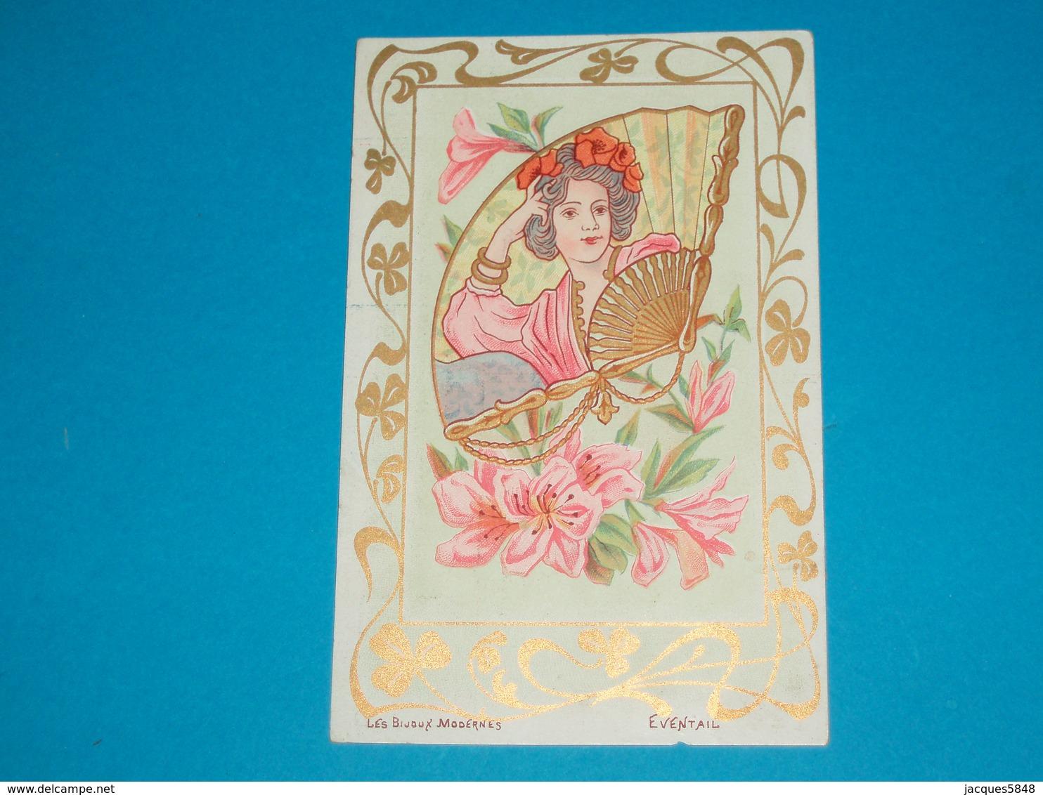 Illustrateur ) Les Bijoux Modernes ( Eventail )  Art Nouveaux - Style Mucha - Sans Signature  - Année : EDIT : - Illustrateurs & Photographes