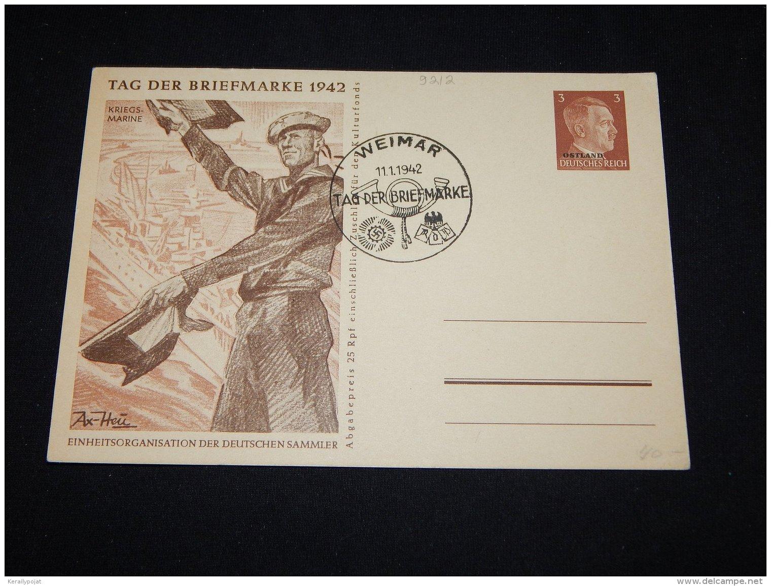 Germany Ostland 1942 Weimar 3pf Tag Der Briefmarke Stationery Card__(L-9212) - Occupation 1938-45
