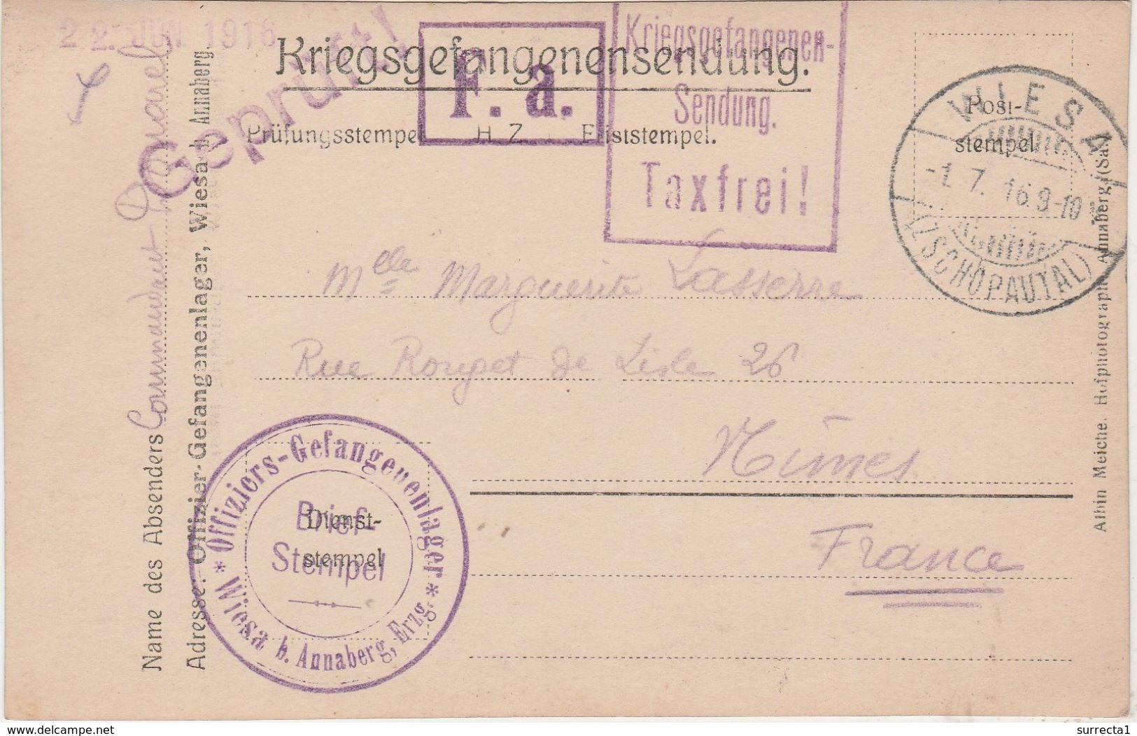 CPA  PHOTO 1916  / Carte De Prisonnier / Camp Des Officiers / Wiesa & Annaberg / Allemagne / Censure - Documents