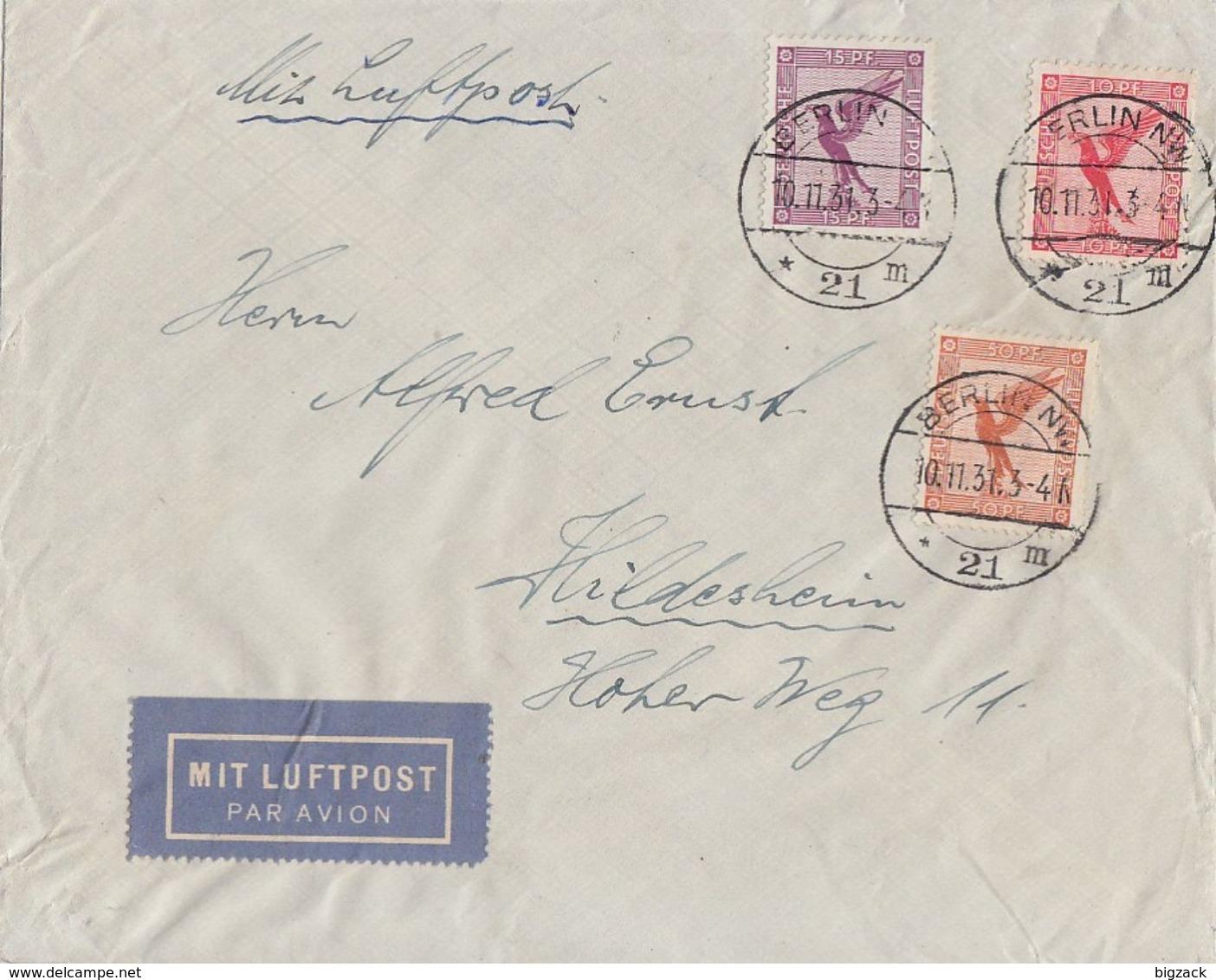 DR Luftpostbrief Mif Minr.379,A379,381 Berlin 10.11.31 - Briefe U. Dokumente