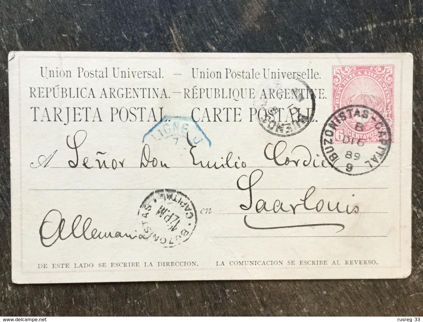 19 Argentinien Argentina Argentine Ganzsache Stationery Entier Postal Psc Von Buenos Aires Nach Saarlouis - Postal Stationery