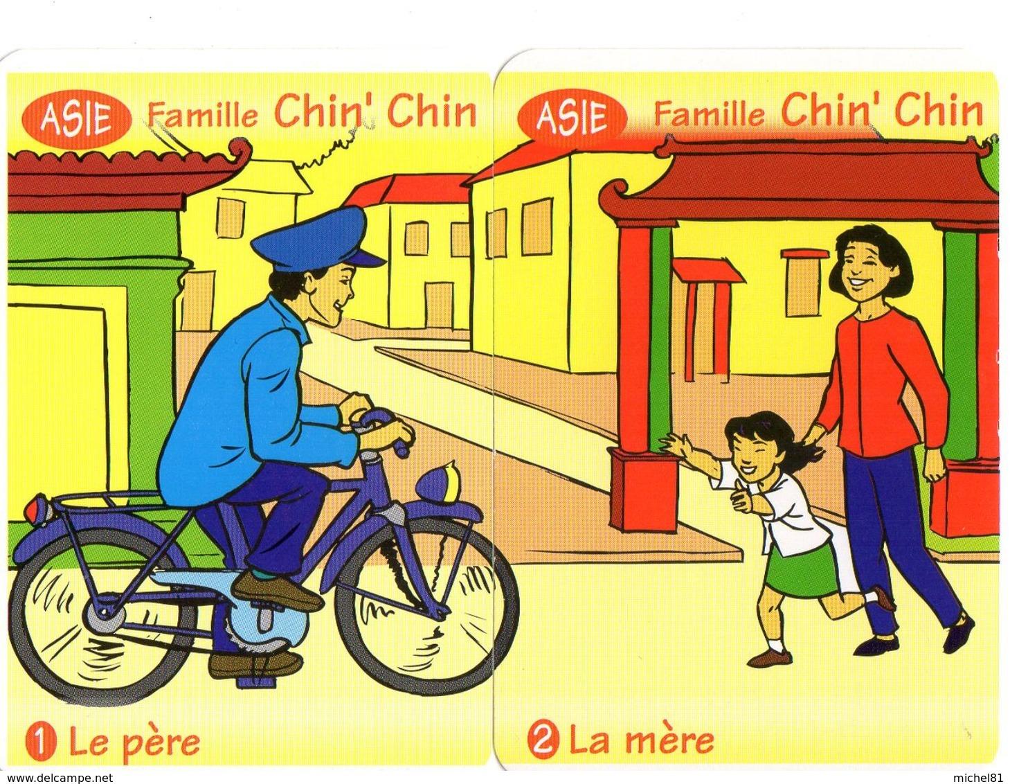 2 Cartes D'un Jeu De 7 Familles / Asie / Vélo Bicyclette Cyclisme Bicycle / Chine China - Non Classés