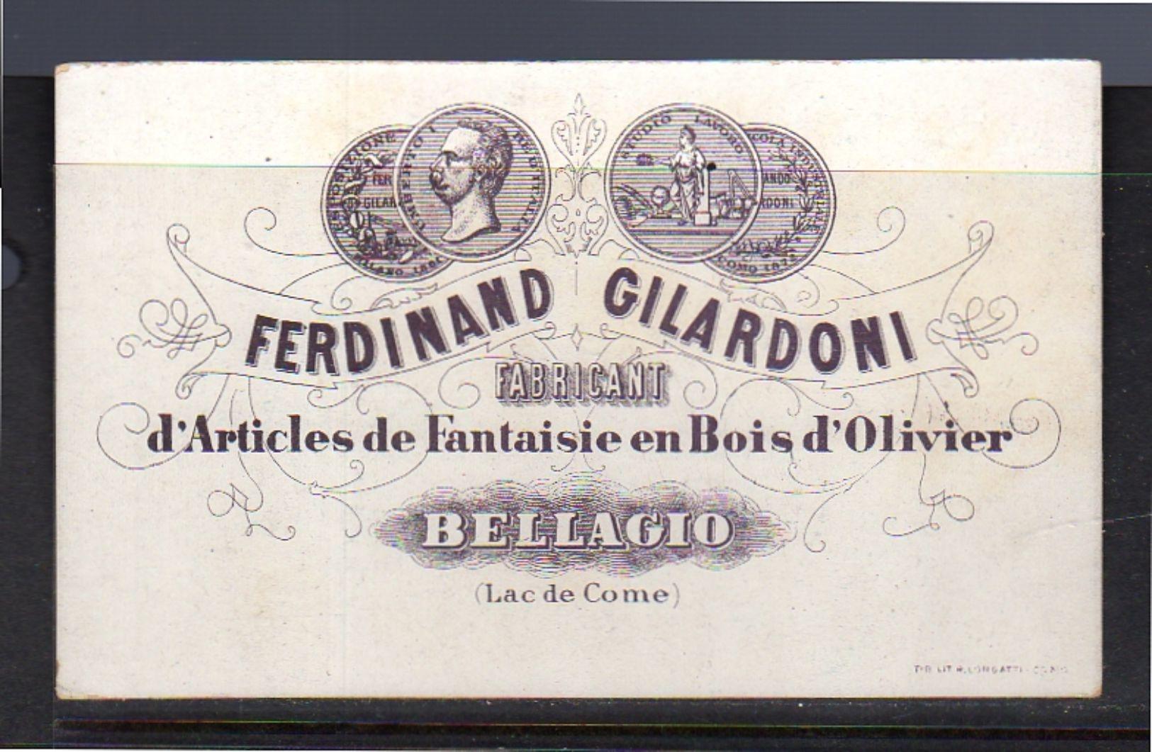 Pension BELLAGIO Ferdinand Gilardoni Bois D'olivier Lac De Come ± 1900  12 X 7½ Cm (k22-11) - Advertising