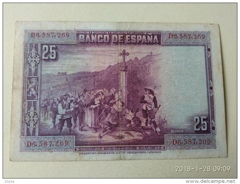 25 Pesetas 1928 - [ 1] …-1931 : Eerste Biljeten (Banco De España)